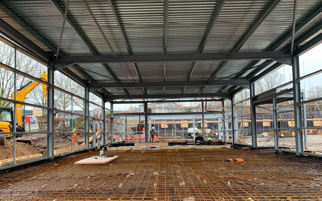 Steel frame complete at KFC Rochdale